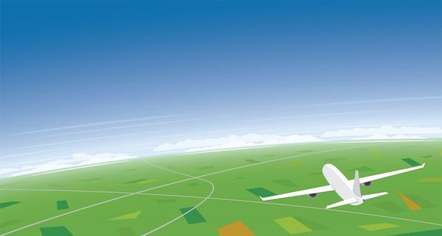 Vliegtuig dat op sunny day en bannerachtergrond vliegt