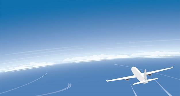 Vliegtuig dat over de oceaan en bannerachtergrond vliegt