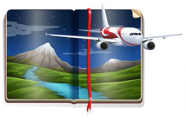 Vliegtuig dat over de rivierscène vliegt in het boek