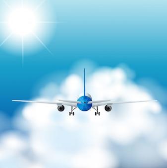 Vliegtuig dat overdag in de hemel vliegt