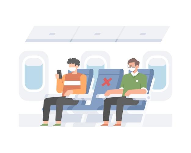 Vliegtuig dat veiligheidsgezondheidsprotocollen toepast, sociaal afstand nemen door pessengers te verdelen om de middelste stoel van het vluchtillusration-concept leeg te maken