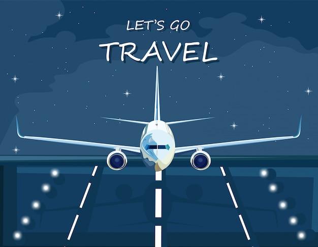Vliegtuig die bij nacht landen