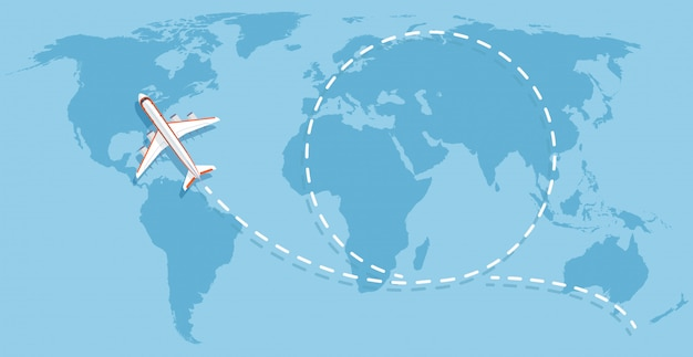 Vliegtuig die boven wereldkaart vliegen. vliegtuigen reizen platte vector concept