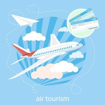 Vliegtuig die door wolken in de blauwe hemel vliegen