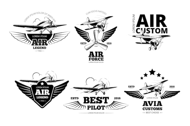 Vliegtuig emblemen vector labels. luchtvaartlogo, vlucht en beste pilootillustratie