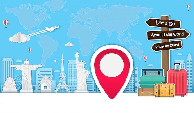 Vliegtuig en bagage reizen rond de wereld-concept.