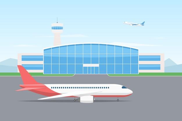 Vliegtuig en luchthavengebouw