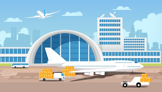 Vliegtuig en pakjes op vrachtwagens komen uit magazijn