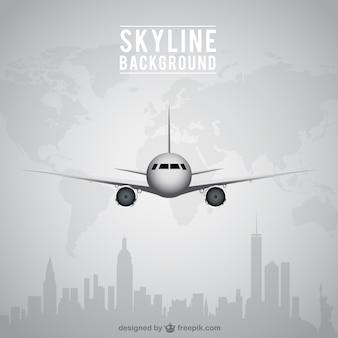 Vliegtuig en skyline achtergrond