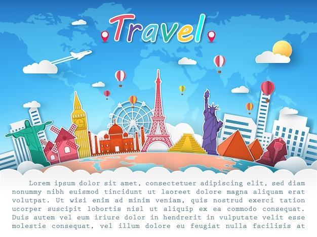 Vliegtuig en top wereld beroemde bezienswaardigheid voor reizen concept.