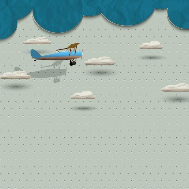 Vliegtuig en wolken van papier
