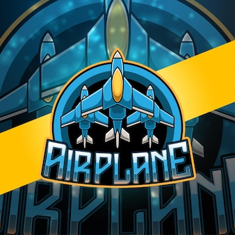 Vliegtuig esport mascotte logo ontwerp