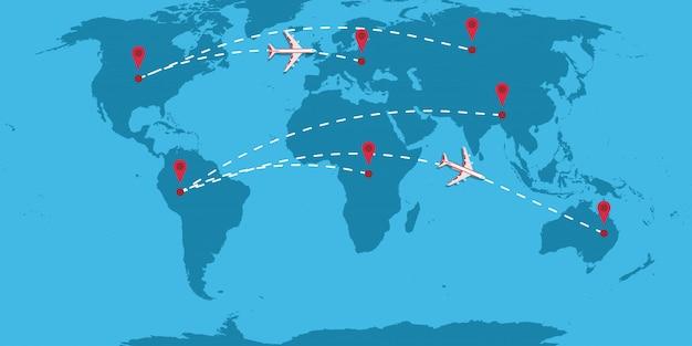Vliegtuig gestippelde lijn pad richting vector illustratie reiskaart
