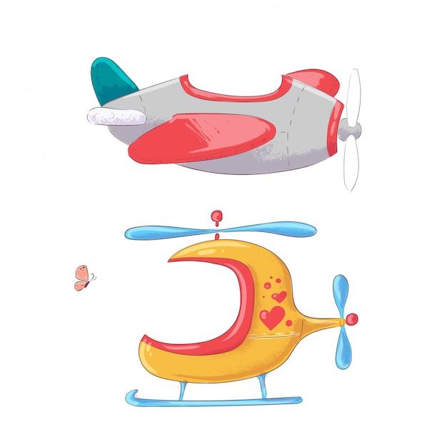Vliegtuig helikopter en ballon hand tekenen stijl.