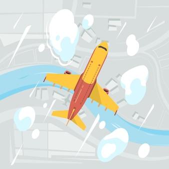 Vliegtuig hemel bovenaanzicht. vliegende transport jet burgerluchtvaartuigen wolken luchtfoto achtergrond. illustratie vliegtuig reizen, vliegtuig vlucht