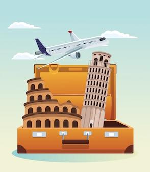 Vliegtuig het vliegen en reiskoffer met pisa toren en rome coliseum over hemel