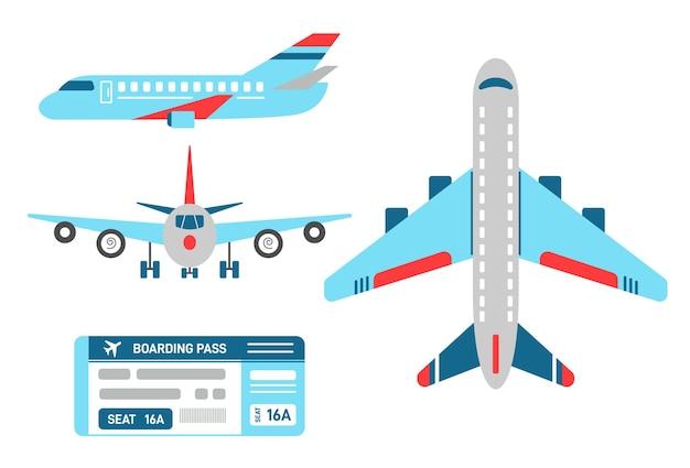 Vliegtuig in boven-, zij- en vooraanzicht. aantal vliegtuigen en vliegticket voor de vlucht. vliegtuigmodel met vleugels, motor, turbine. instappen bas. vlakke stijl illustratie.