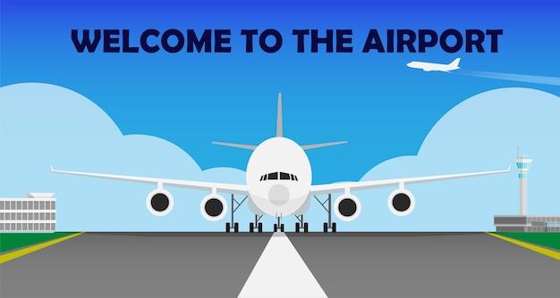 Vliegtuig in de baan in de luchthaven