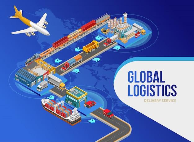 Vliegtuig in de buurt van schema van wereldwijde logistiek