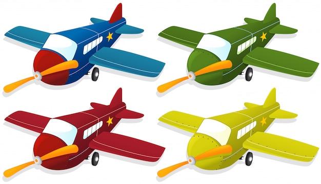 Vliegtuig in vier verschillende kleuren