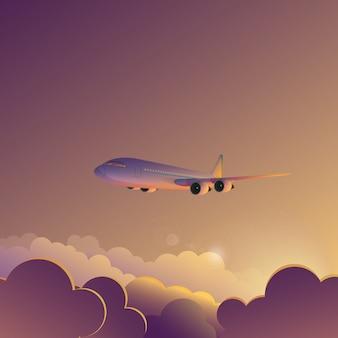 Vliegtuig in zonsondergang zonsopgang hemel illustratie poster banner.
