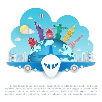 Vliegtuig inchecken punt reizen rond de wereld. top wereld beroemde bezienswaardigheid.