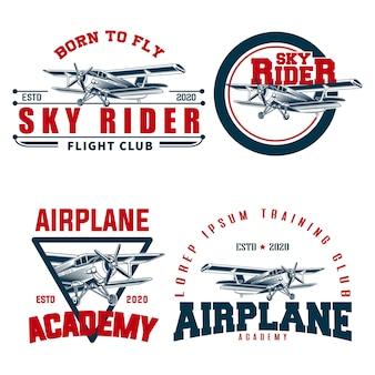 Vliegtuig instellen logo sjabloon