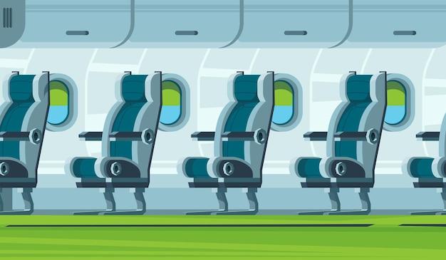 Vliegtuig interieur. vervoer cabine stoelen vliegtuigen salon vlakke afbeelding.