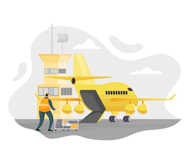 Vliegtuig levering illustratie dienstverleningsconcept, snelle levering, luchthaven