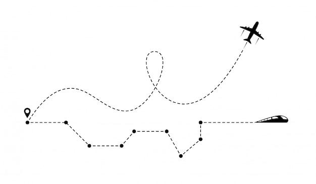Vliegtuig lijn pad pictogram van vliegtuig vluchtroute en trein spoorlijn met startpunt.