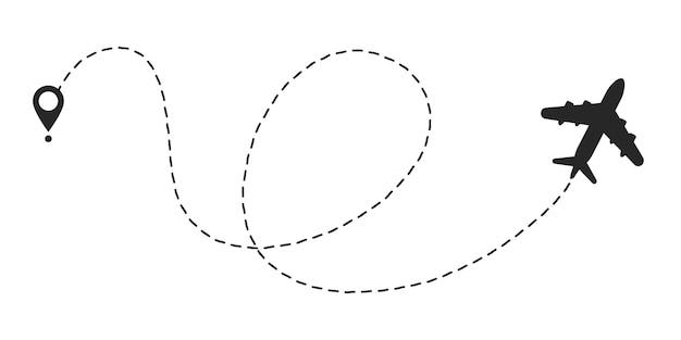 Vliegtuig lijn pad route. startpunt en streepjeslijntracering.