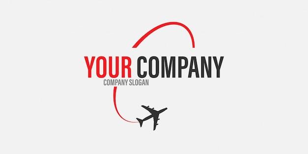 Vliegtuig logo reizen concept