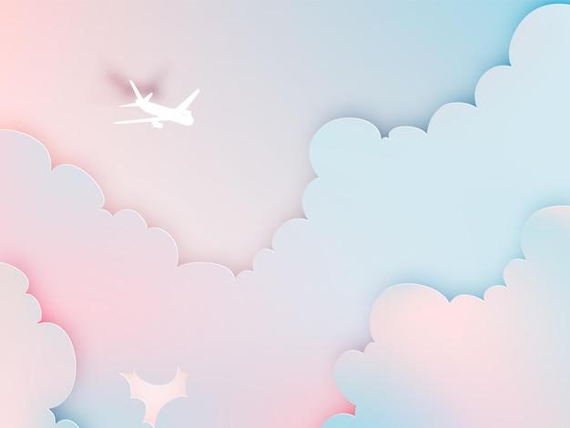 Vliegtuig luchtfoto papierkunst met mooi