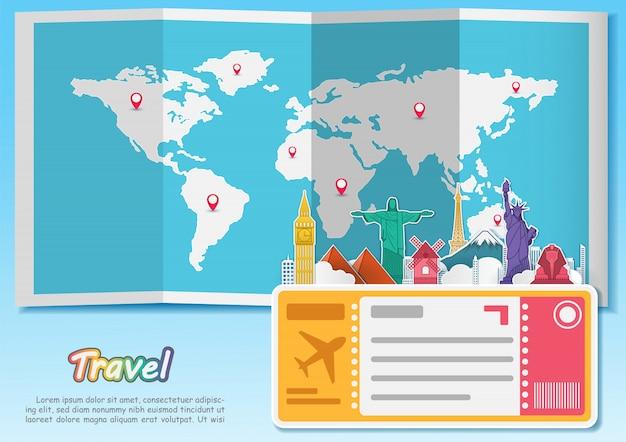 Vliegtuig luchtreizen over de hele wereld