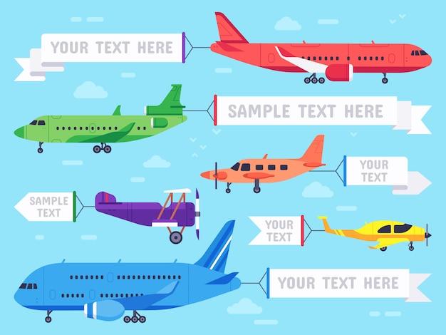 Vliegtuig met banner. vliegend advertentievliegtuig, de banners van luchtvaartvliegtuigen en de illustratie van luchtvaartlijnvliegtuigen