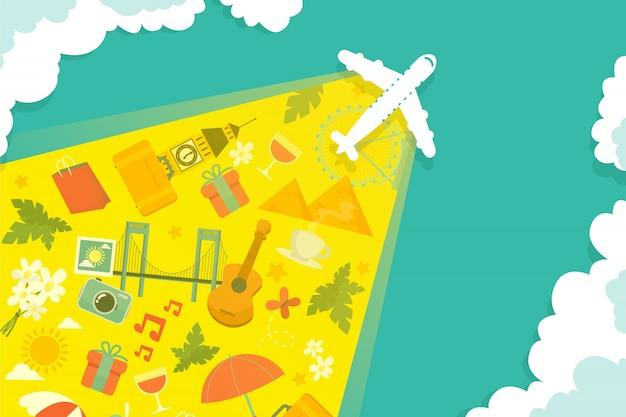 Vliegtuig met een spoor van de reis elementen