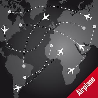 Vliegtuig met routes over kaart over zwarte achtergrond vector