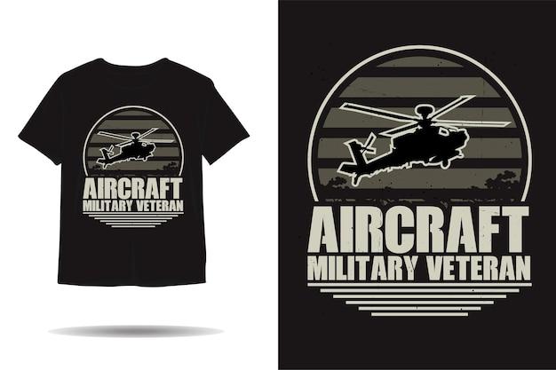 Vliegtuig militair veteraan silhouet tshirt ontwerp