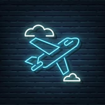 Vliegtuig neon tekenelementen