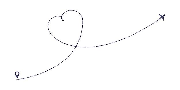 Vliegtuig onderbroken lijn pad vlakke stijl ontwerp vectorillustratie geïsoleerd op een witte achtergrond