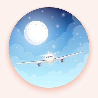 Vliegtuig op blauwe achtergrond met maan en sterren.