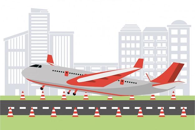Vliegtuig op de start-en landingsbaan van de luchthaven