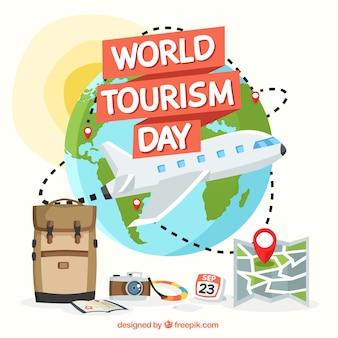 Vliegtuig over de hele wereld, wereldtoerisme dag