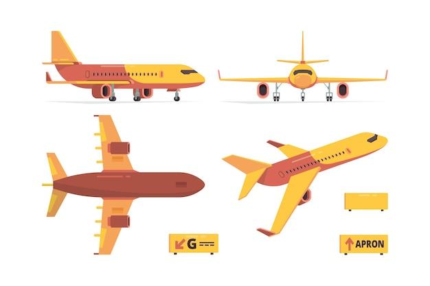 Vliegtuig plat. burgerluchtvaartvliegtuigen verschillende weergaven vliegen symbolen collectie.