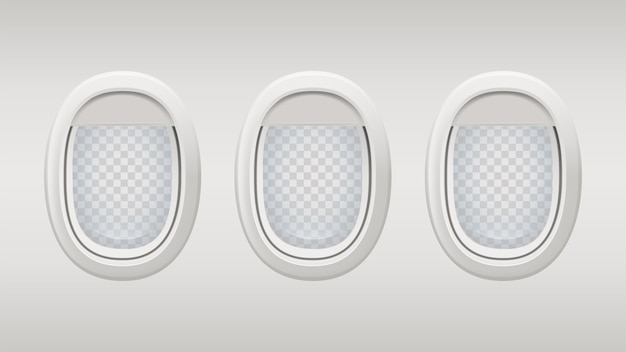 Vliegtuig ramen. binnen realistische vliegtuig windows sjabloon. patrijspoorten grijze achtergrond met transparante elementen.