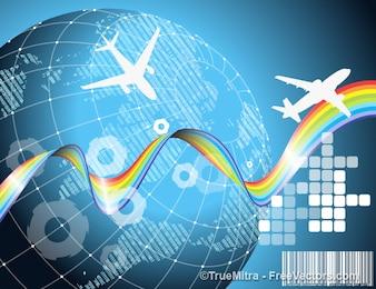 Vliegtuig reizen aarde achtergrond vector set