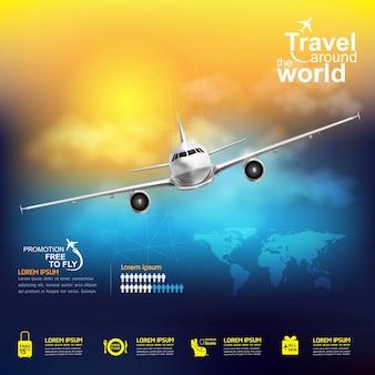 Vliegtuig reizen rond de wereldbanner