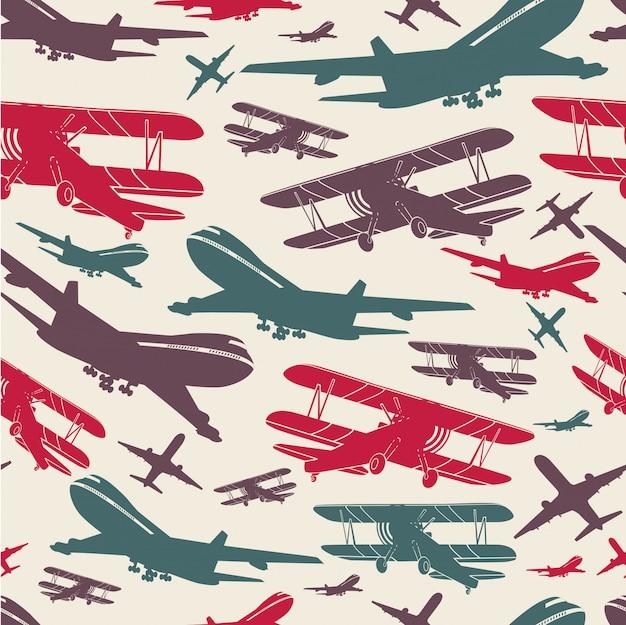 Vliegtuig retro naadloze sjabloon