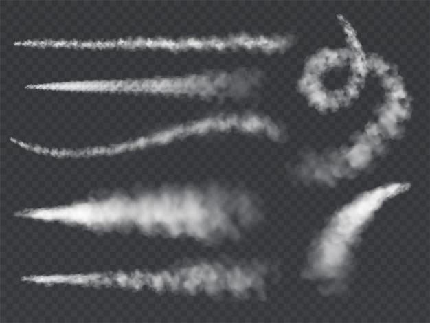 Vliegtuig rookspoor. jet trails wit vliegtuig rook opstijgen wolk damp hemel contrail raket condensatie achterblijvende set