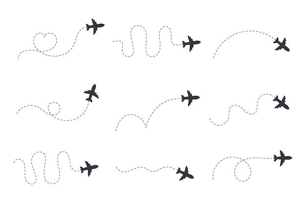 Vliegtuig routes. reizen vector pictogram. reis vanaf het startpunt en tracering met stippellijnen.